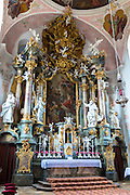 Baroque style Church of St Peter and Paul in Oberammergau in Upper Bavaria, Germany
