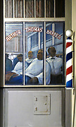 colorful entrance to the Arthur Thomas Barber Shop, New Orleans, Louisiana, USA