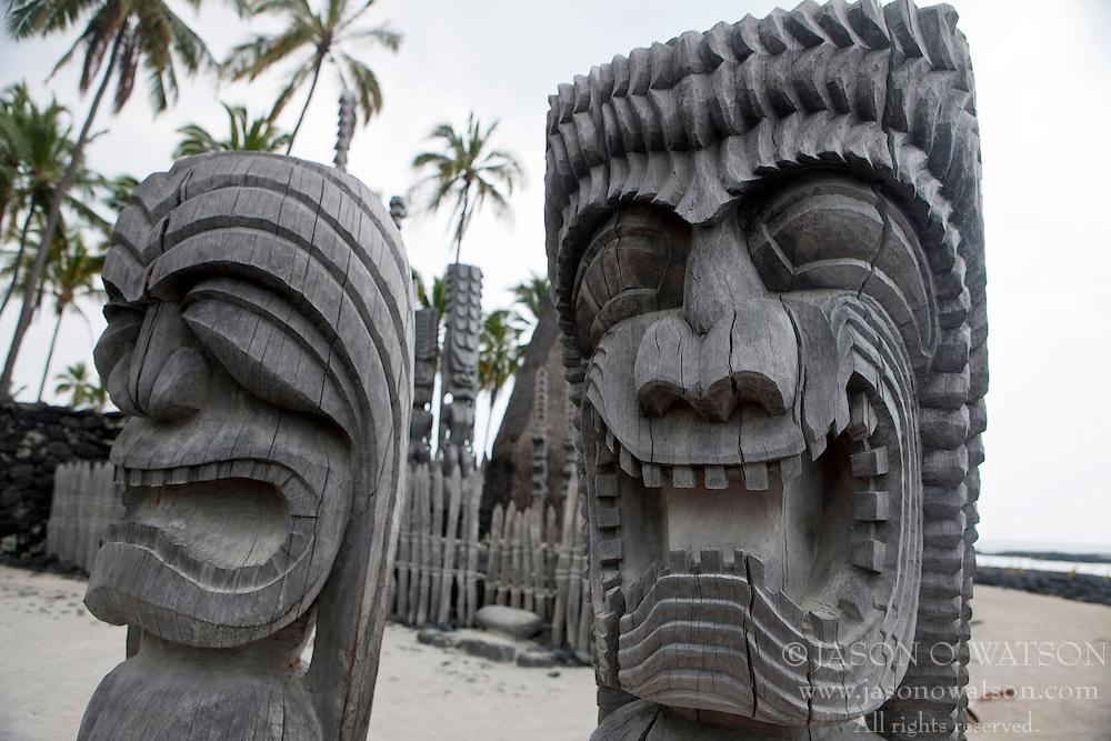 Kapu Ki'i wooden tiki statue carvings, made from the ohia tree, Pu'uhonua o Honaunau National Historical Park, The Big Island, Hawaii, United States of America