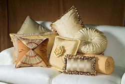 Decorative pillows on sofa