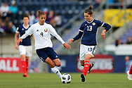 Anna Kozyupa (#9) of Belarus and Jane Ross (#13) of Scotland battle for possession of the ball during the FIFA Women's World Cup UEFA Qualifier match between Scotland Women and Belarus Women at Falkirk Stadium, Falkirk, Scotland on 7 June 2018. Picture by Craig Doyle.