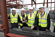 03/02/2014 HP Ireland today announced the formal commencement of the construction phase of its new 89,000 sq. ft. office building in Ballybrit, Galway, at a ceremony attended by An Taoiseach, Enda Kenny, TD. <br /> The project is expected to be one of the largest construction projects in Galway in recent times, and is likely to create up to 200 construction jobs. <br /> Pictured at the event were:    Martin Murphy, MD of HP Ireland, Barry O'Leary, Enterprise Ire, An Taoiseach Enda Kenny TD  and Mayor of Galway Padraig Connelly at a brick laying ceremony at HP and Tom Dempsey HP . Photo:Andrew Downes.