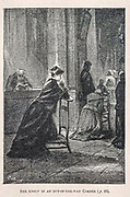 She Knelt in an out-of-the-way corner from the book ' Mistress Branican ' by Jules Verne, illustrated by Leon Benett. The story begins in the United States, where the heroine, Mistress Branican, suffers a mental breakdown after the death by drowning of her young son. On recovering, she learns that her husband, Captain Branican, has been reported lost at sea. Having acquired a fortune, she is able to launch an expedition to search for her husband, who she is convinced is still alive. She leads the expedition herself and trail leads her into the Australian hinterland. Mistress Branican (French: Mistress Branican, 1891) is an adventure novel written by Jules Verne and based on Colonel Peter Egerton Warburton and Ernest Giles accounts of their journeys across the Western Australian deserts, and inspired by the search launched by Lady Franklin when her husband Sir John Franklin was reported lost in the Northwest Passage. Translated by A. Estoclet, Published in New York, Cassell Pub. Co. 1891.