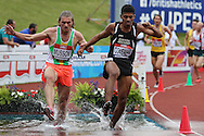 Jamaine Coleman and Doug Musson competing in the Men's 3000m Steeplechase race Final.The British Championships 2016, athletics event at the Alexander Stadium in Birmingham, Midlands  on Saturday 25th June 2016.<br /> pic by John Patrick Fletcher, Andrew Orchard sports photography.