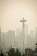 2018 AUGUST 20 - The Space Needle and downtown are seen through smokey skies in Seattle, WA, USA. View from Kerry Park viewpoint. By Richard Walker
