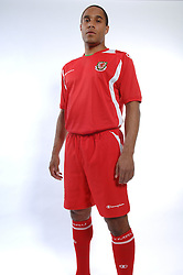 Wales' Ashley Wiliams poses in the new Wales Champion Home kit. JJB Sports and the FAW signed a six year deal which started on the 1st August and the New Home kit is launched on 7th August. JJB Sports have utilized Champion as the technical brand for the FAW. The New kit will be worn for the first time against Georgia on 20th August. The new kit is available from local JJB Sports store and online at www.fawmegastore.com.