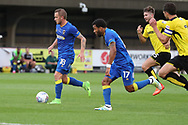 AFC Wimbledon midfielder Dean Parrett (18) dribbling and on his way to score 1-0 during the Pre-Season Friendly match between AFC Wimbledon and Burton Albion at the Cherry Red Records Stadium, Kingston, England on 21 July 2017. Photo by Matthew Redman.