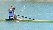Seville. Andalusia. SPAIN. Men's Single Sculls, Gold Medalist, CZE M1X. Ondrej SYNEK.  2013 FISA European Rowing Championship.  Guadalquivir River.  Sunday   02/06/2013  [Mandatory Credit. Peter Spurrier/Intersport]