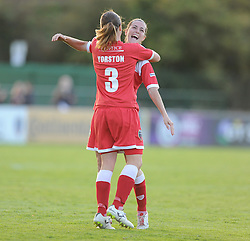Bristol Academy's Corinne Yorston celebrates her goal. - Photo mandatory by-line: Alex James/JMP - Mobile: 07966 386802 23/08/2014 - SPORT - FOOTBALL - Bristol  - Bristol Academy v Everton Ladies - FA Women's Super league