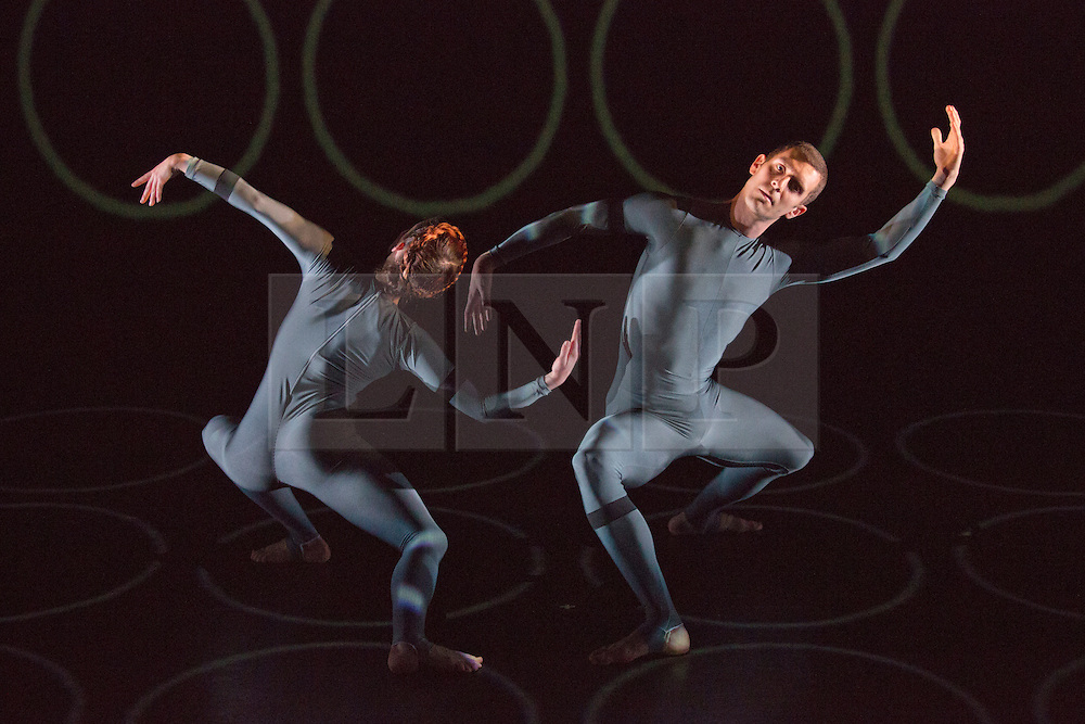 """© Licensed to London News Pictures. 27/02/2014. London, England. Pictured: Laurel Dalley Smith and Jonathan Goddard performing """"Unfold to Centre"""" by Yolande Yorke-Edgell. Former Rambert dancer Yolande Yorke-Edgell brings her young company """"Yorke Dance Project"""" to the Lilian Baylis Studio to present its latest programme """"Figure Ground"""". Company dancers: Laurel Dalley Smith, Jonathan Goddard, Rowan Heather, Edward Lloyd, Kieran Stoneley, Hannah Windows and Yolande Yorke-Edgell. Photo credit: Bettina Strenske/LNP"""