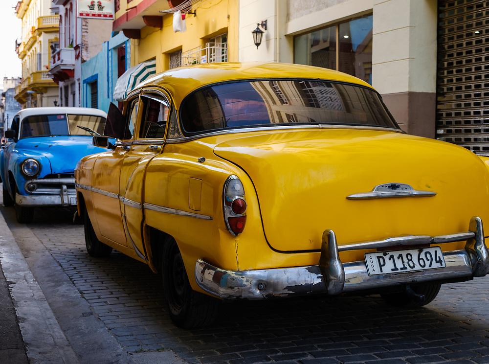 HAVANA, CUBA - CIRCA MAY 2017:  Old classic cars in the streets of Havana.