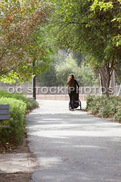 Woman Pushing Baby a Stroller