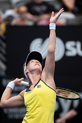 January 11, 2019 - Sydney, NSW, U.S. - SYDNEY, AUSTRALIA - JANUARY 11: Kiki Bertens (NED) serves in her game against Ashleigh Barty (AUS) at The Sydney International Tennis on January 11, 2018, at Sydney Olympic Park Tennis Centre in Homebush, Australia. (Photo by Speed Media/Icon Sportswire) (Credit Image: © Steven Markham/Icon SMI via ZUMA Press)