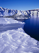 Snow Cornice and Wizard Island, Crater Lake National Park, Oregon