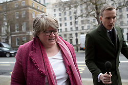 © Licensed to London News Pictures. 02/03/2020. London, UK. Secretary of State for Work and Pensions Thérèse Coffey arrives at The Cabinet Office. Photo credit: George Cracknell Wright/LNP