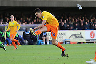 a rare shot on goal from Luke O'Nein of Wycombe Wanderers during the Sky Bet League 2 match between AFC Wimbledon and Wycombe Wanderers at the Cherry Red Records Stadium, Kingston, England on 21 November 2015. Photo by Stuart Butcher.