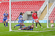 GOAL Reading forward Danielle Carter (18) turns away to celebrate after scoring to make it 2-0 during the FA Women's Super League match between Manchester United Women and Reading LFC at Leigh Sports Village, Leigh, United Kingdom on 7 February 2021.