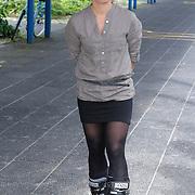 NLD/Amsterdam/20120713 - Lancering Sportglossy Londen, Nicolien Sauerbreij op haar skischoenen