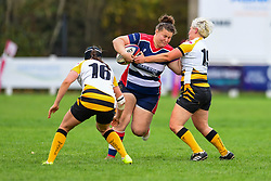Carys Phillips of Bristol Ladies is tackled by Charlie Veale of Wasps Ladies - Mandatory by-line: Craig Thomas/JMP - 28/10/2017 - RUGBY - Cleve RFC - Bristol, England - Bristol Ladies v Wasps Ladies - Tyrrells Premier 15s