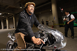 Shinya Kimura on his Chabott Engineerying 1978 / 2018 Yamaha SR Crystal Trophy before grand entry into the  27th Annual Mooneyes Yokohama Hot Rod Custom Show 2018. Yokohama, Japan. Sunday, December 2, 2018. Photography ©2018 Michael Lichter.