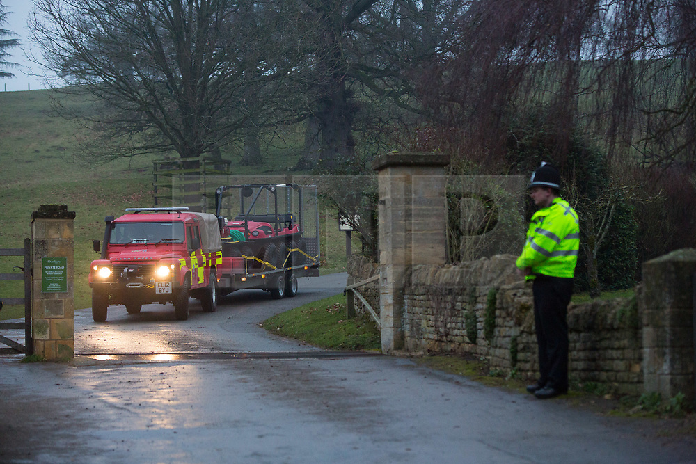 © Licensed to London News Pictures 08/01/2018, Overbury, UK. emergency service vehicles leave the scene of the crash of a light aircraft ona  private estate at Overbury, Worcestershire. Photo Credit : Stephen Shepherd/LNP