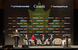 Bono addresses a session in front of UN Secretary General Ban Ki-moon, left to right, Marie-Claude Bibeau, Minister of International Development and La Francophonie, Mark Dybul, executive director of the Global Fund and billionaire philanthropist Bill Gates, at the Global Fund conference Saturday, on September 17, 2016 in Montreal, QC, Canada. Photo by Paul Chiasson/The Canadian Press/ABACAPRESS.COM