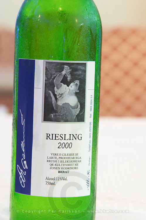 Bottle of Riesling 2000 Vere e Cilesise se Larte, Rrush, Berat region. Tirana capital. Albania, Balkan, Europe.