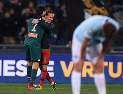 ROMA, Feb. 6, 2018  Genoa's Diego Laxalt (2nd L) celebrates after he scores the second goal during a Serie A soccer match between Lazio and Genoa in Rome, Italy, Feb. 5, 2018. Genoa won 2-1. (Credit Image: © Alberto Lingria/Xinhua via ZUMA Wire)