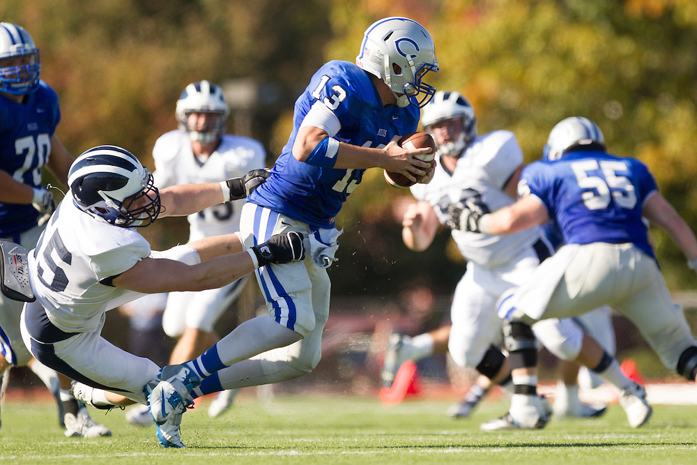 Gabe Harrington, of Colby College, during a NCAA Division III football game on September 27, 2014 in Waterville, ME. (Dustin Satloff/Colby College Athletics)