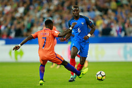 France's midfielder Paul Pogba runs during the FIFA World Cup Russia 2018, Qualifying Group A football match between France and Netherlands on August 31, 2017 at the Stade de France in Saint-Denis, north of Paris, France - Photo Benjamin Cremel / ProSportsImages / DPPI