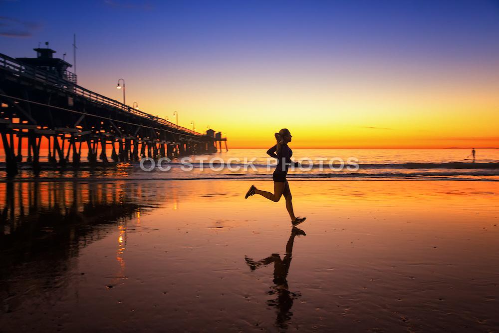 Girl Running During Sunset on the Beach