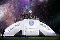 The Paris Saint Germain players celebrate their victory in French Ligue 1 Championship as Zlatan Ibrahimovic lifts the hexagoal trophy after the French Championship Ligue 1 football match between Paris Saint Germain and FC Nantes on May 14, 2016 at Parc des Princes stadium in Paris, France - Photo Jean Marie Hervio / Regamedia / DPPI