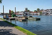 Henley on Thames. United Kingdom.   Piling Equipment moored with the box frames on deck. St Mary's church Tower in the background. <br /> Thursday  17/05/2018<br /> <br /> [Mandatory Credit: Peter SPURRIER:Intersport Images]<br /> <br /> LEICA CAMERA AG  LEICA Q (Typ 116)  f5  1/1000sec  35mm  42.5MB