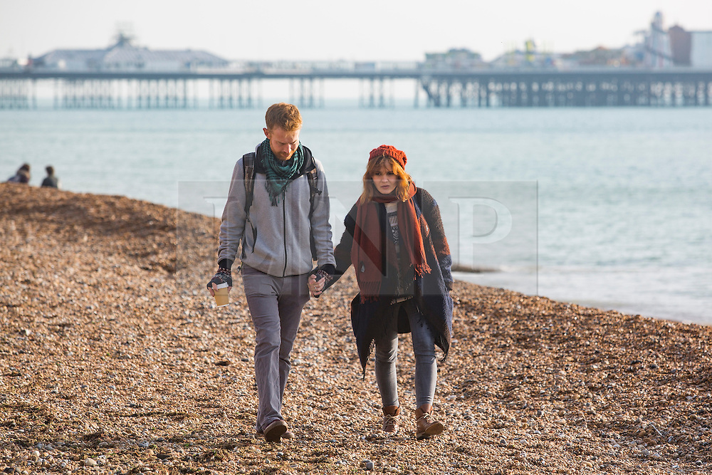 Brighton, UK. 26/11/2016, Members of the public take advantage of the mild weather to spend time on the beach in Brighton. Photo Credit: Hugo Michiels