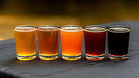 Microbrews (from left to right): Spruce Tip, Ale, Prospector Pale, Chilkoot Trail IPA, Boom Town Brown and Blue Top Porter at Skagway Brewing Company, Skagway, Alaska USA.