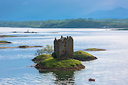 Stalker Castle on Loch Linnhe a highland fortress in late afternoon near Strontian, Argyll in the Highlands of Scotland
