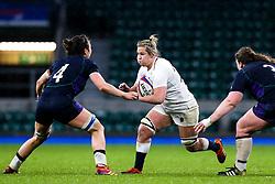 Marlie Packer of England Women takes on Emma Wassell of Scotland Women - Mandatory by-line: Robbie Stephenson/JMP - 16/03/2019 - RUGBY - Twickenham Stadium - London, England - England Women v Scotland Women - Women's Six Nations