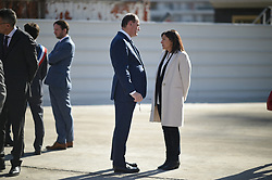 Prime Minster Jean Castex and Paris Mayor Anne Hidalgo chats ahead of French President's visit to the construction site of the 2024 Olympic Games Village in Saint-Ouen on the outskirts of Paris, France on October 14, 2021, part of a visit to construction sites dedicated to the Paris 2024 Olympic and Paralympic Games. Photo by Eliot Blondet/ABACAPRESS.COM