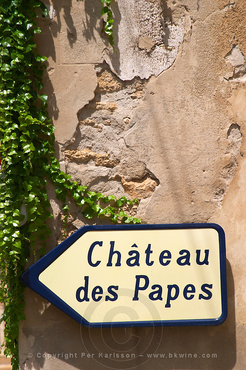 street sign chateauneuf du pape rhone france