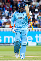 Jason Roy of England celebrates reaching 50 - Mandatory by-line: Robbie Stephenson/JMP - 30/06/2019 - CRICKET - Edgbaston - Birmingham, England - England v India - ICC Cricket World Cup 2019 - Group Stage