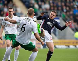 Hibernian's Jordan Forester and Falkirk's John Baird. Falkirk 0 v 3 Hibernian, Scottish Championship game played at The Falkirk Stadium 2/5/2015.