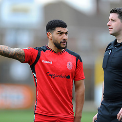 TELFORD COPYRIGHT MIKE SHERIDAN 2/3/2019 - Ellis Deeney of AFC Telford makes his point point to referee Scott Simpson during the National League North fixture between Boston United and AFC Telford United at the York Street Jakemans Stadium
