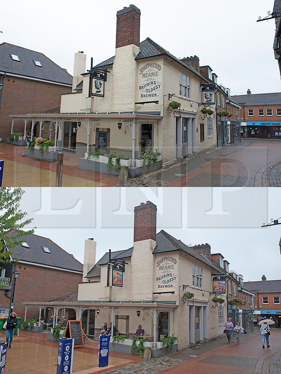 ©Licensed to London News Pictures 19/08/2020             Sevenoaks, UK. Comparison picture today (19/08/2020) The Restoration pub and from the (30/06/2020) The Black Boy pub. The Black Boy pub in Sevenoaks, Kent which is over 400 years old has changed its name over racism fears to The Restoration. Photo credit: Grant Falvey/LNP