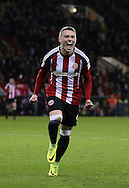 Caolan Lavery of Sheffield Utd  celebrates scoring the fourth goal during the English League One match at Bramall Lane Stadium, Sheffield. Picture date: December 10th, 2016. Pic Simon Bellis/Sportimage