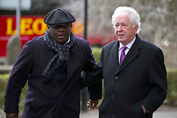 Retired Stoke City footballer Garth Crooks (left) and Sports journalist Jeff Powell arrive at the funeral service for Gordon Banks at Stoke Minster.