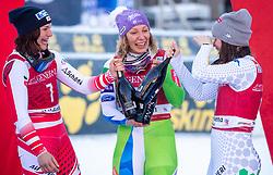 18.12.2018, Saslong, St. Christina, ITA, FIS Weltcup Ski Alpin, Abfahrt, Damen, Siegerehrung, im Bild v.l. Ramona Siebenhofer (AUT, 3. Platz), Ilka Stuhec (SLO, 1. Platz), Nicol Delago (ITA, 2. Platz) // f.l. third placed Ramona Siebenhofer of Austria race winner Ilka Stuhec of Slovenia second placed Nicol Delago of Italy during the winner Ceremony for the ladie's Downhill of FIS ski alpine world cup at the Saslong in St. Christina, Italy on 2018/12/18. EXPA Pictures © 2018, PhotoCredit: EXPA/ Johann Groder