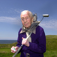 103 YEARS OLD KERRY LADY PLAY GOLF ON HER BIRTHDAY....<br /> Ballybunion in Co. Kerry may be the majestic setting for the Murphy's Irish Open this week but on Monday local lady Peg Mahony celebrated her 103rd birthday with a visit to the championship links. Born accross the road for the famous course, now rated 6th best in the world, Peg decided to spend a short time down on the course  where the professionals have started practising for Thursday's tee-up. Local groundsman Paul Murphy ferried Peg around the 18th gren in a buggy and then Peg took a few swings before holing a wonderful 10ft putt on the practise green.  Later in the day Peg enjoyed a wonderful party with her three sisters, (all over 90years of age) at the family home in Doon Road, Ballybunion.<br /> Picture by Don MacMonagle<br /> Full sotry by Anne Lucey