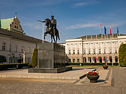 The Warsaw Presidential Palace with the Józef Poniatowski Monument in the courtyard, Poland