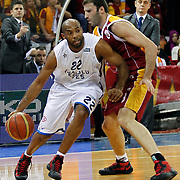 Anadolu Efes's Alfred Jamon Lucas (L) during their BEKO Basketball League match Galatasaray between Anadolu Efes at the Abdi Ipekci Arena in Istanbul at Turkey on Sunday, February 17, 2013. Photo by Aykut AKICI/TURKPIX