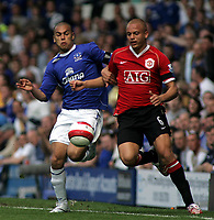 Photo: Paul Thomas.<br />Everton v Manchester United. The Barclays Premiership. 28/04/2007.<br /><br />James Vaughan (L) of Everton battles with Wes Brown.